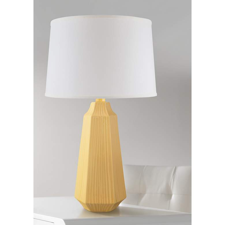 Melinda Straw Yellow Faceted Ceramic Table Lamp