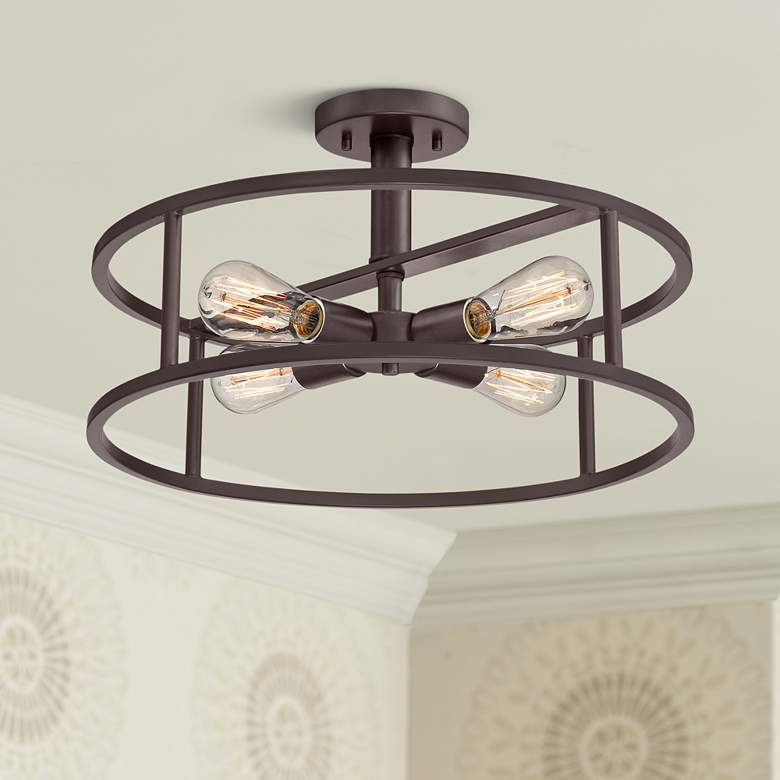 "Quoizel New Harbor 18""W Western Bronze 4-Light Ceiling Light"