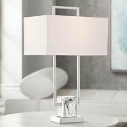 Carl Metal and Faux Marble Table Lamp