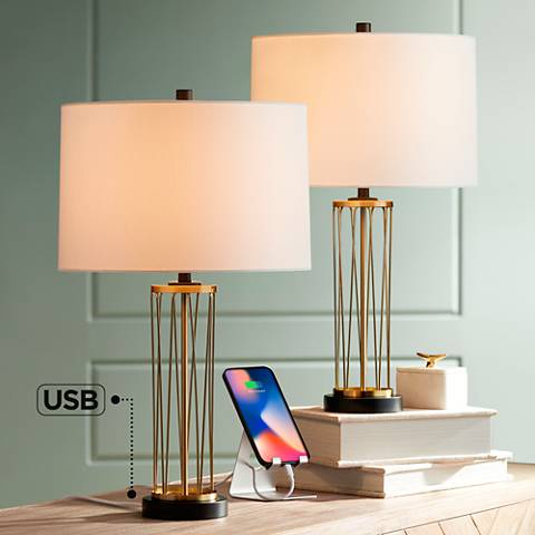 Nathan Gold Table Lamp With Usb Set Of 2 36w47 Lamps Plus