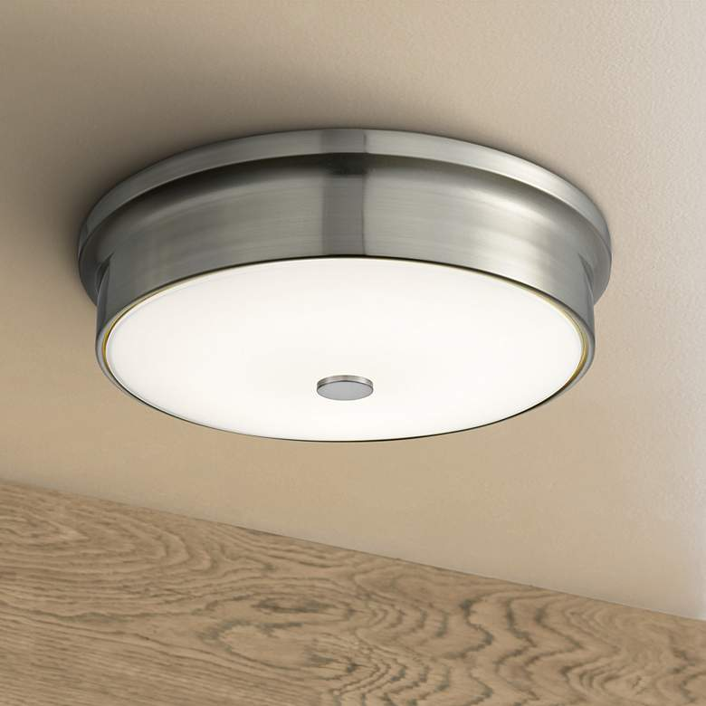 "Towne 12"" Wide Satin Nickel Round LED Ceiling Light"