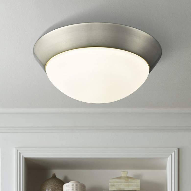 "Contours 11"" Wide Satin Nickel LED Ceiling Light"