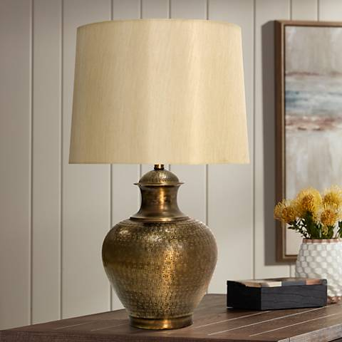 Midpines Antique Brass Embossed Design Metal Table Lamp