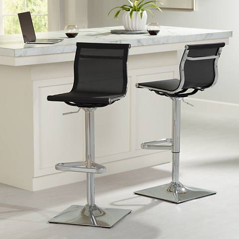 Mirage Black Mesh Adjustable Swivel Bar Stools Set Of 2