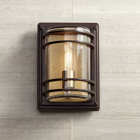 "Habitat 11"" High Bronze and Warm Brass Outdoor Wall Light"