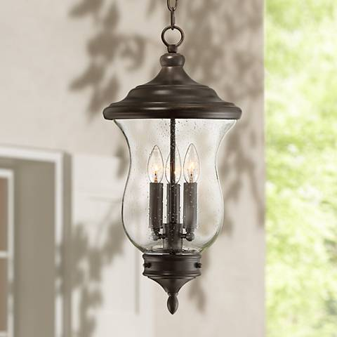 "Carriage 22"" High Bronze 3-Light LED Outdoor Hanging Light"
