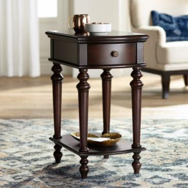 "Norwood 16"" Wide Mahogany Wood Traditional Side Table"