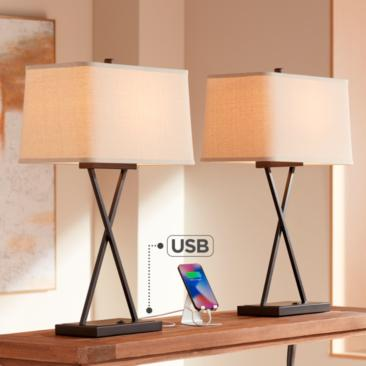 Megan USB Table Lamps with LED Bulbs - Set of 2