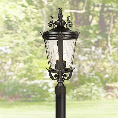 "Casa Marseille 107"" High Black Post Light with Burial Pole"