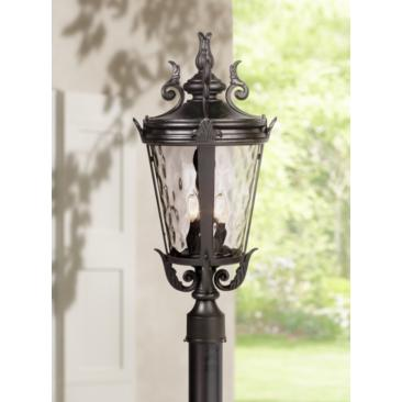 "Casa Marseille™ 25"" High Black 4-Light Outdoor Post"