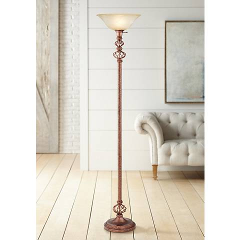 Open Frame Accent Wrought Rust Torchiere Floor Lamp