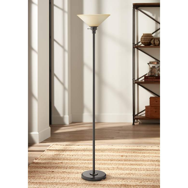 Soho Collection Dark Bronze Finish Torchiere Floor Lamp