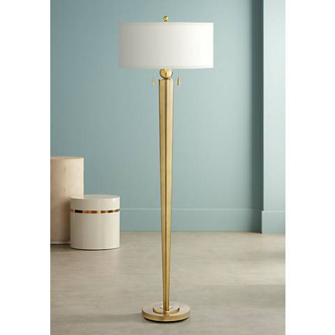 Messina Antique Brass Double Pull Floor Lamp