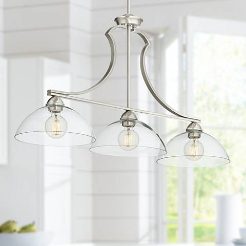 "Possini Euro Andres 41""W Satin Nickel 3-Light Island Pendant"