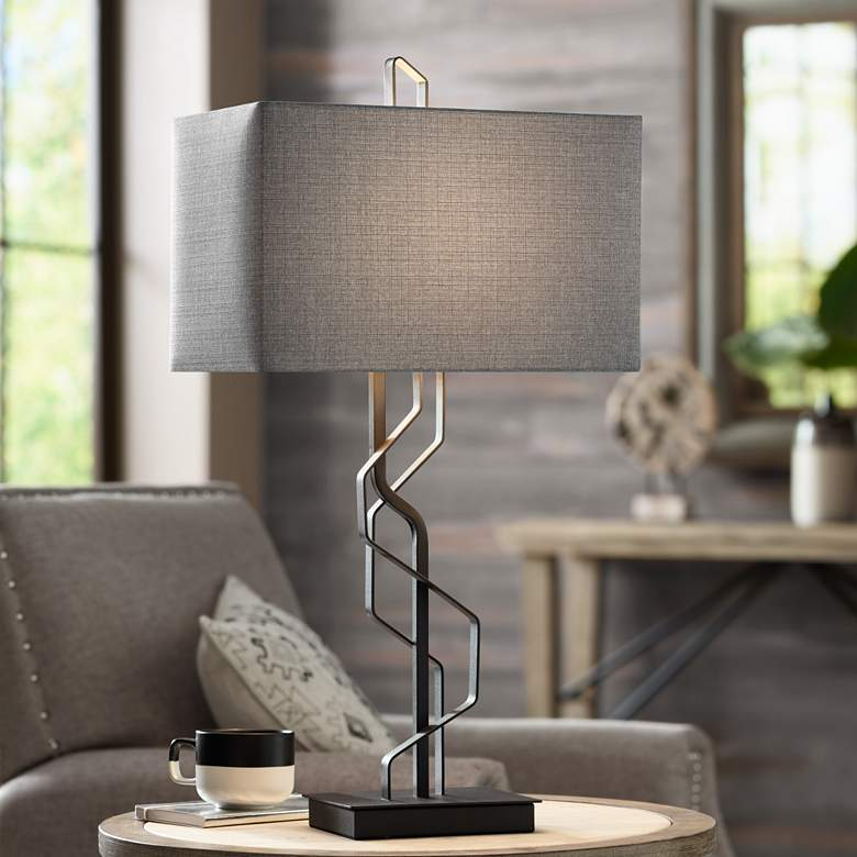 Kathy Ireland Studio Black Metal Table Lamp