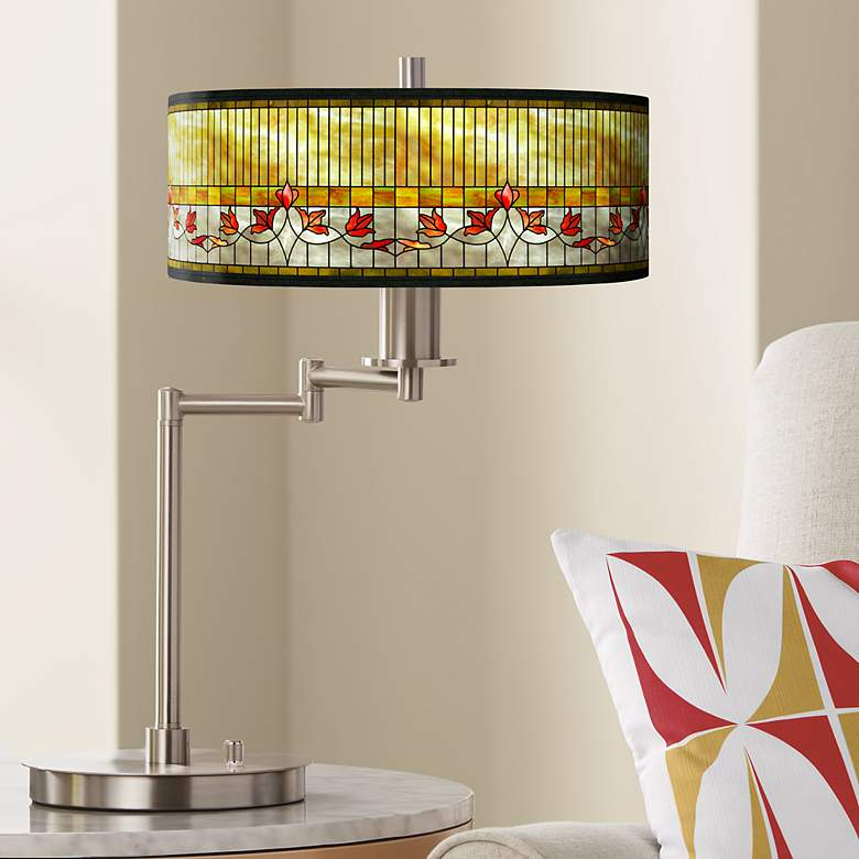 Tiffany-Style Lily Giclee CFL Swing Arm Desk Lamp