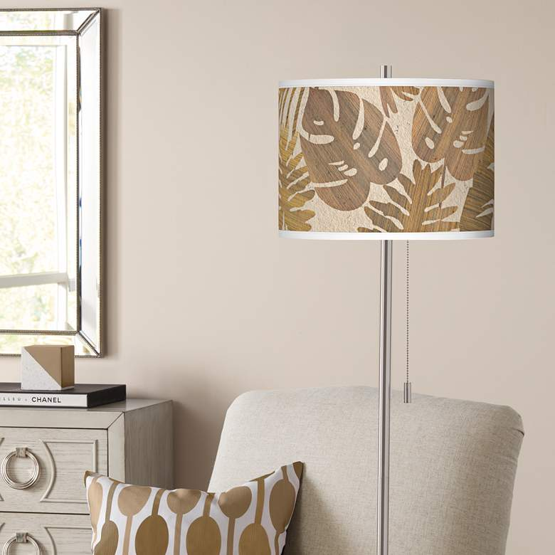 Tropical Woodwork Brushed Nickel Pull Chain Floor Lamp