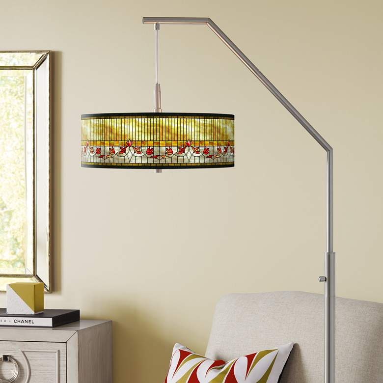Tiffany-Style Lily Giclee Shade Arc Floor Lamp