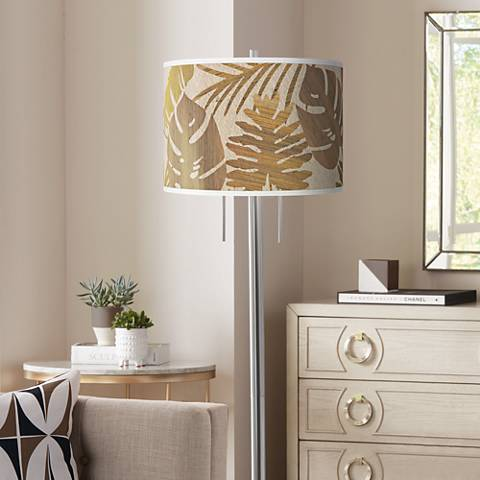 Tropical Woodwork Giclee Brushed Nickel Garth Floor Lamp