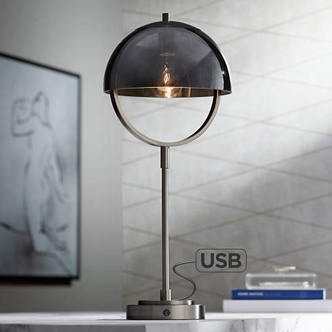 La Grange Nickel and Brushed Steel Table Lamp with USB Port