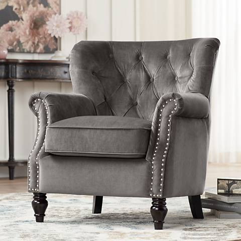 Sophia Talica Platinum Traditional Tufted Accent Chair