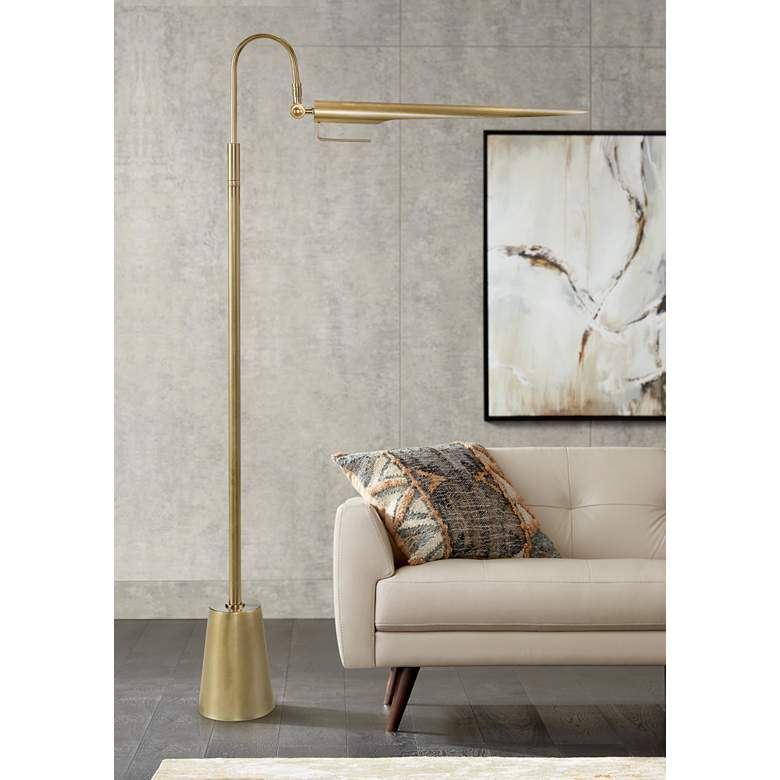 Raven Natural Brass Adjustable Floor Lamp