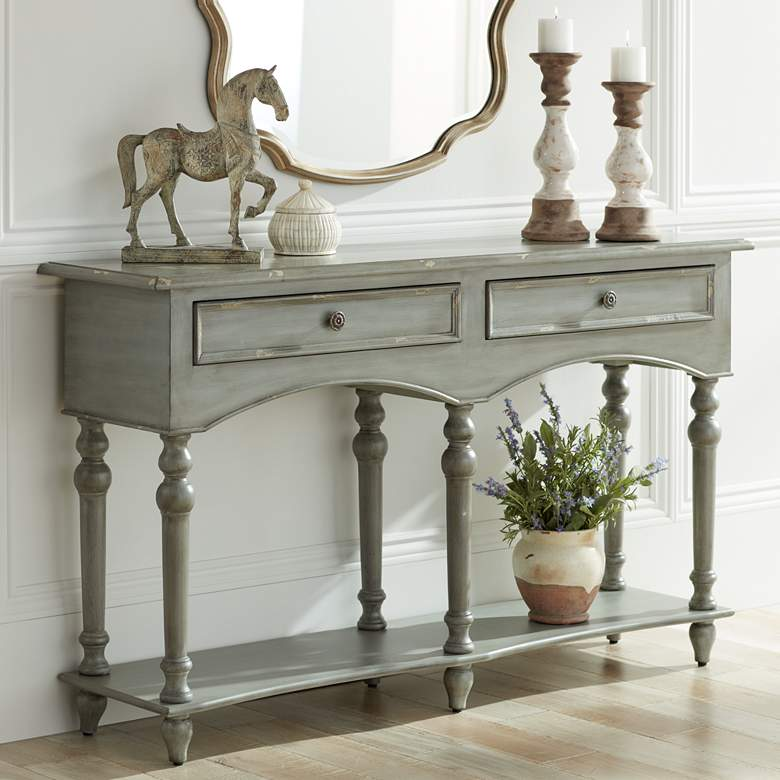 "Chelsea 62"" Wide Antiqued Gray Wood 2-Drawer Console Table"