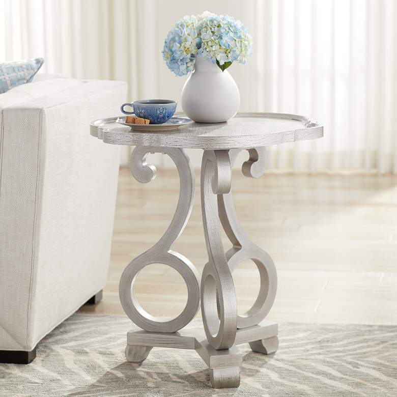 "Adriana 26"" Wide Brushed Silver Scalloped Side Table"