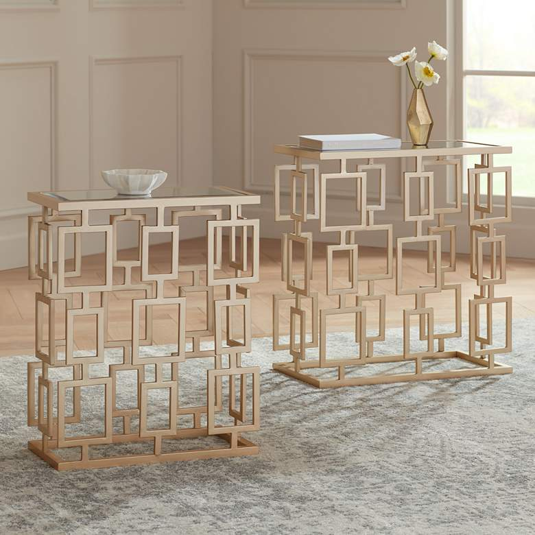 Maddox  Champagne Metal and Mirrored 2-Piece Table Set