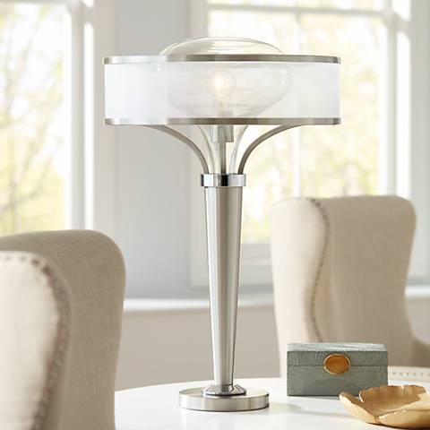 Possini Euro Layne Brushed Steel Table Lamp