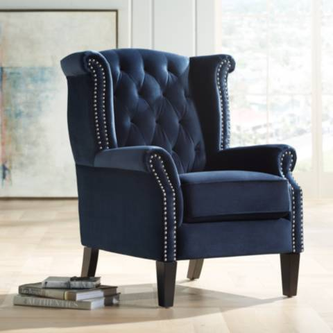 Williamsburg Navy Blue Tufted Wingback Armchair 37t50