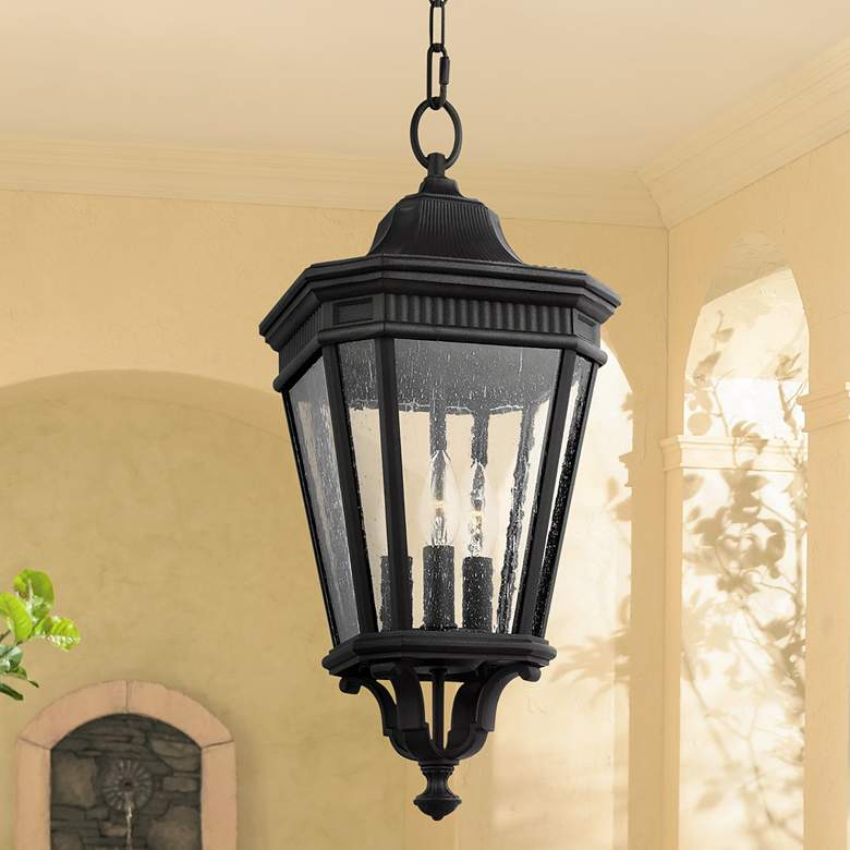 "Feiss Cotswold Lane 21 1/2"" High Black Outdoor Hanging Light"