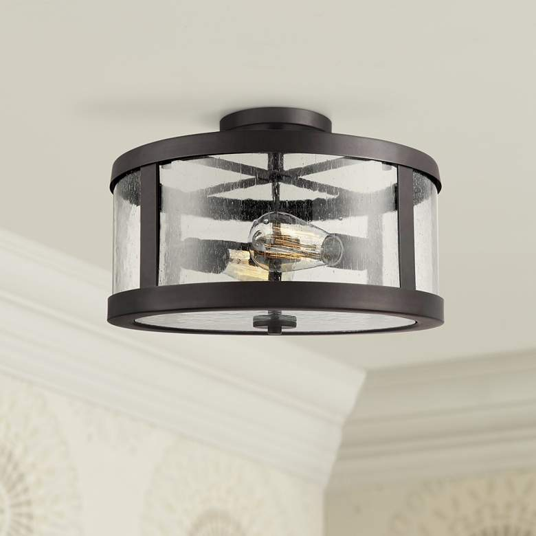 "Feiss Harrow 15""W Oil Rubbed Bronze 2-Light Ceiling Light"