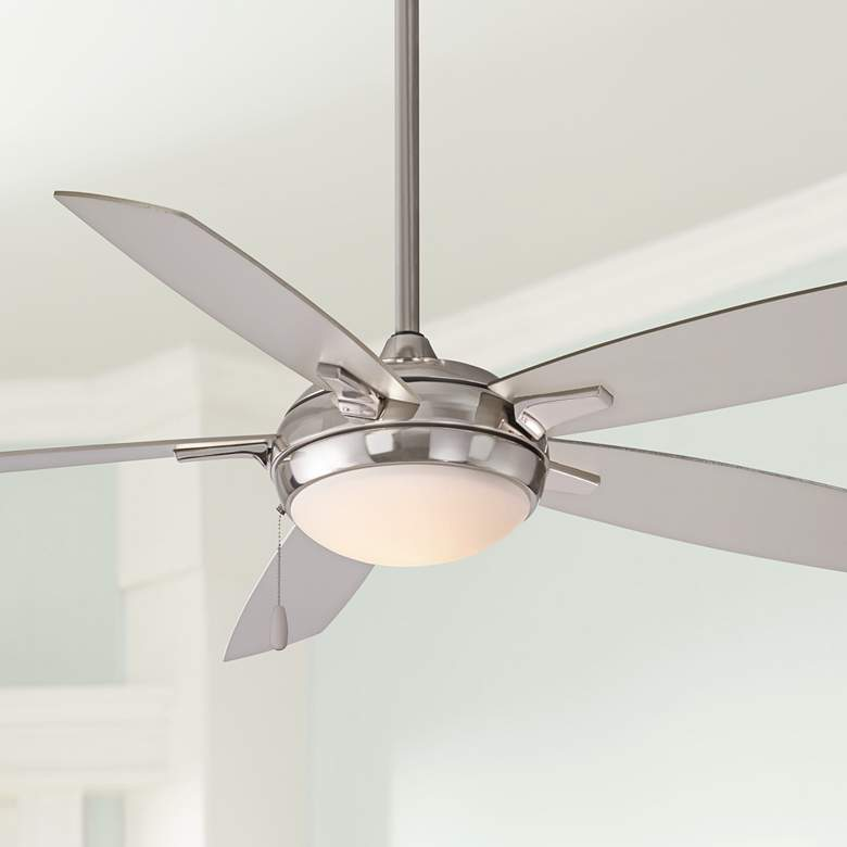 "54"" Minka Aire Lun-Aire Brushed Nickel LED Ceiling"
