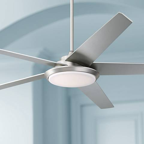"70"" Casa Como Brushed Steel LED Ceiling Fan"