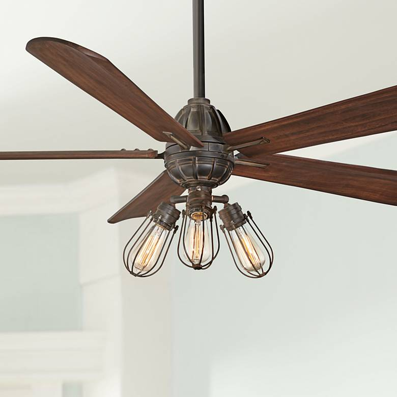 "56"" Minka Aire Alva Tarnished Iron LED Ceiling Fan"