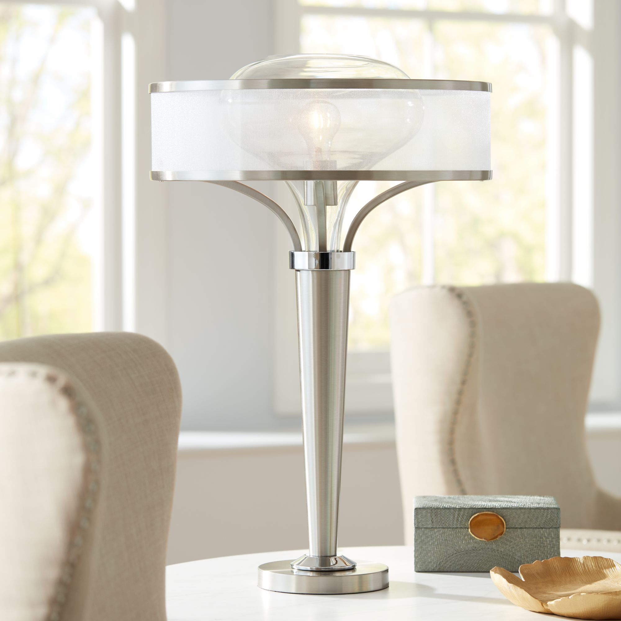 Possini Euro Franco Brushed Steel Table Lamp