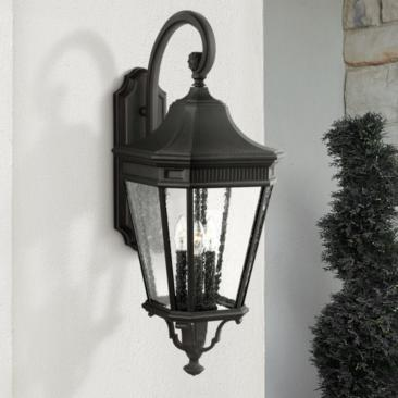 "Feiss Cotswold Lane 30"" High Black Outdoor Wall Light"