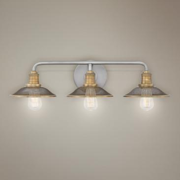 "Hinkley Rigby 27"" Wide Antique Nickel 3-Light Bath Light"