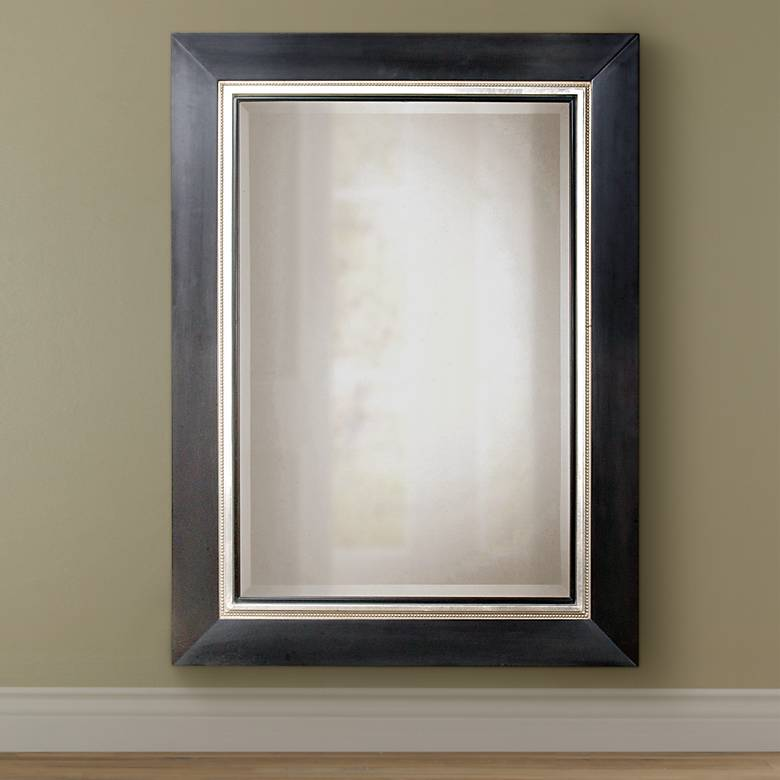 "Uttermost Whitmore Black Silver Leaf 40"" x 54"" Large Mirror"