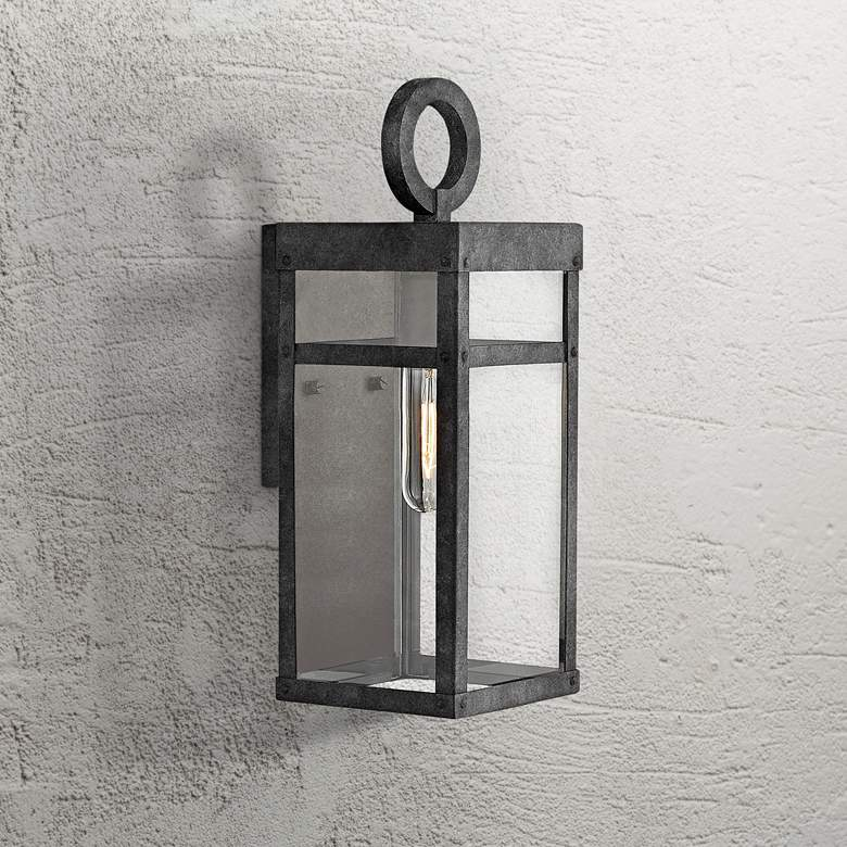 "Hinkley Porter 13"" High Aged Zinc Outdoor Wall Light"