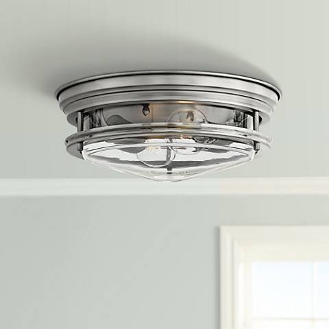 "Hinkley Hadley 12"" Wide Antique Nickel 2-Light Ceiling Light"