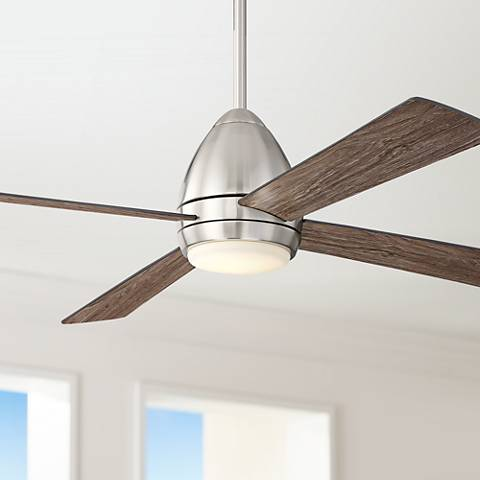 "52"" Casa Vieja Del Largo Brushed Nickel LED Ceiling Fan"