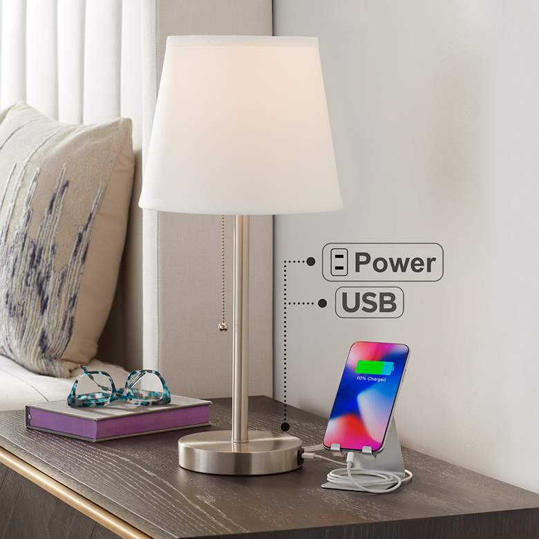 "Flesner Brushed Nickel Finish 20"" High Outlet and USB Lamp"