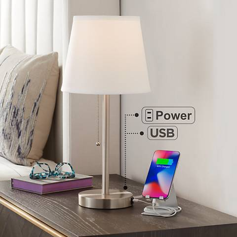 "Flesner Brushed Steel 20""H Accent Table Lamp with USB Port"