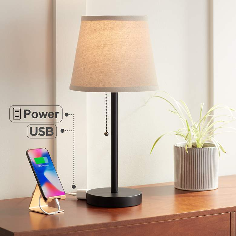 "Flesner Bronze 20"" High Accent Table Lamp with USB Port"