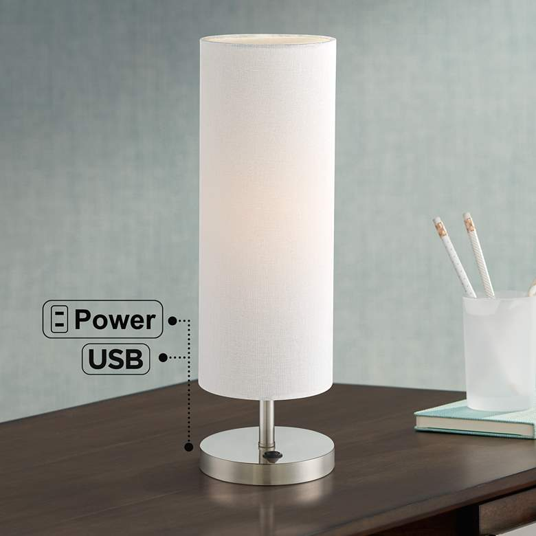 Heyburn Brushed Nickel Accent Table Lamp with USB Port