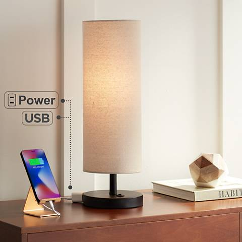 Heyburn Bronze Accent Table Lamp with Outlet and USB Port
