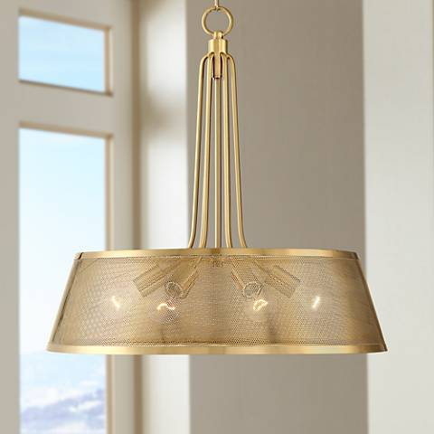 "Possini Euro Sophie 25"" Wide Warm Gold 6-Light Pendant"