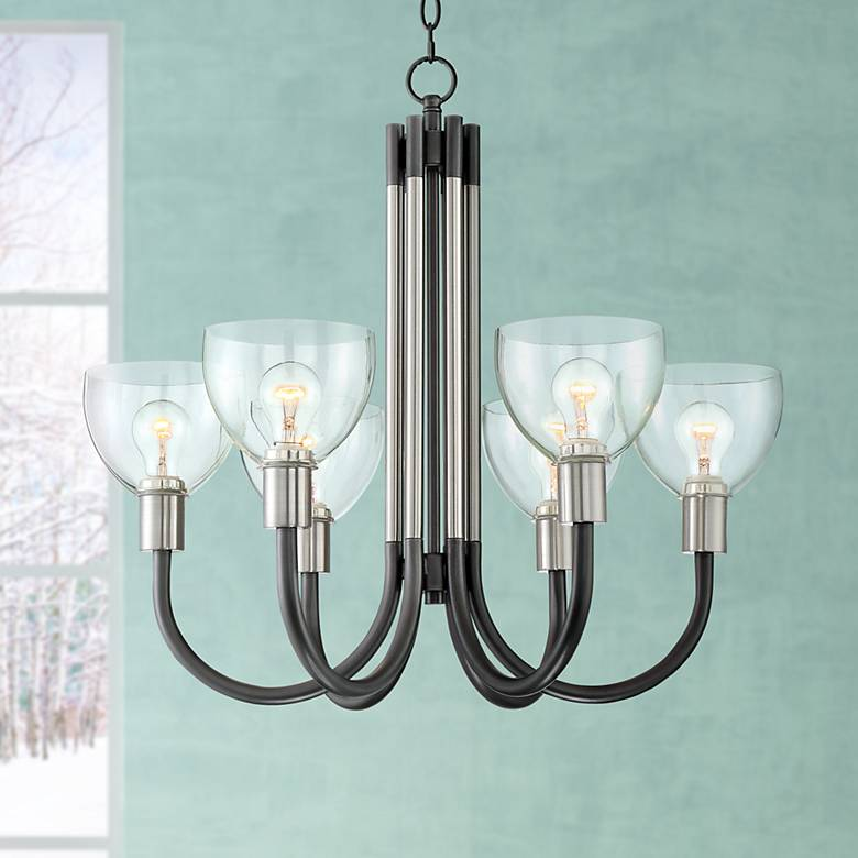 "Pasko 27 3/4"" Wide Nickel and Gunmetal 6-Light Chandelier"